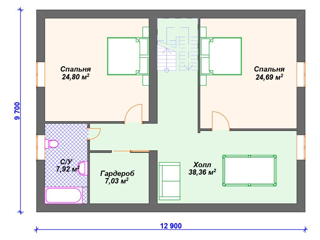 Проект двухэтажного дома,   площадь 207м2, размер         9.7 x 12.9 м