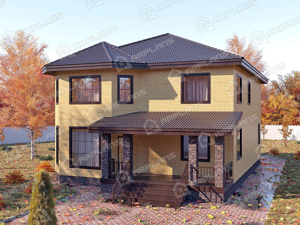 Проект двухэтажного дома,   площадь 242м2, размер         11.3 x 13 .9 м