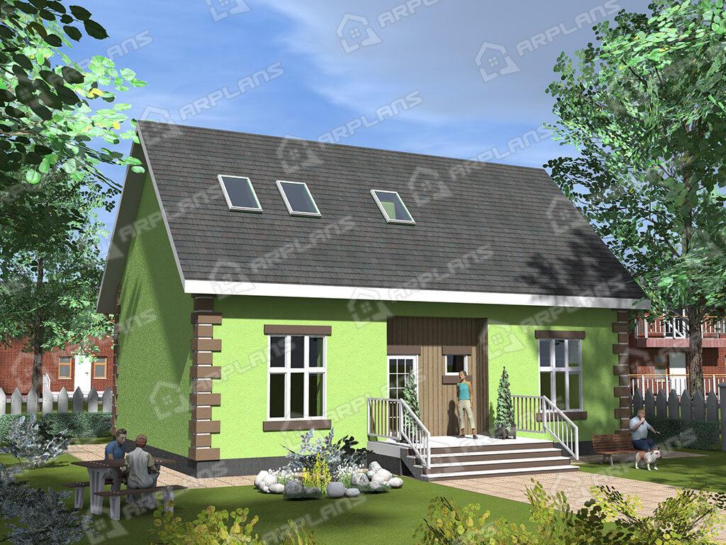 Проект двухэтажного дома,   площадь 160м2, размер         12.5 x 13.8 м